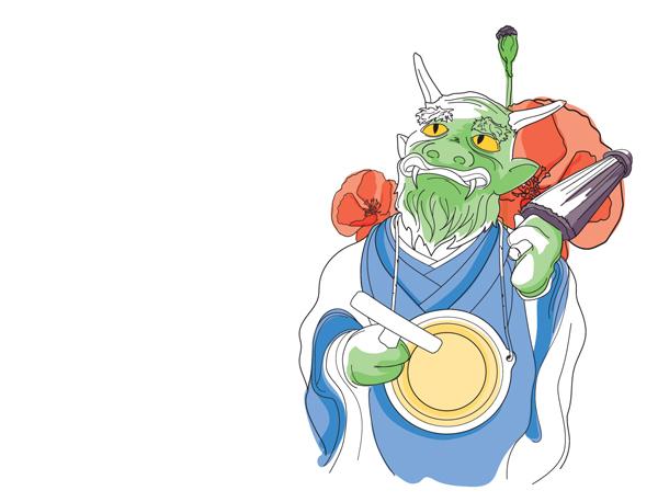 Illustration d'un Yokaï et coquelicots
